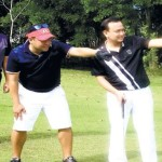 DEFENDING CHAMPIONS. Sun.Star Cebu's Raymond Alvin Garcia prepares to hit at hole No. 3 together with partner Eddieboy Lopez during the Coral Invitational at the Cebu Country Club (CCC). The CCC will be the host for this year's PAL Interclub. 	(contributed foto)