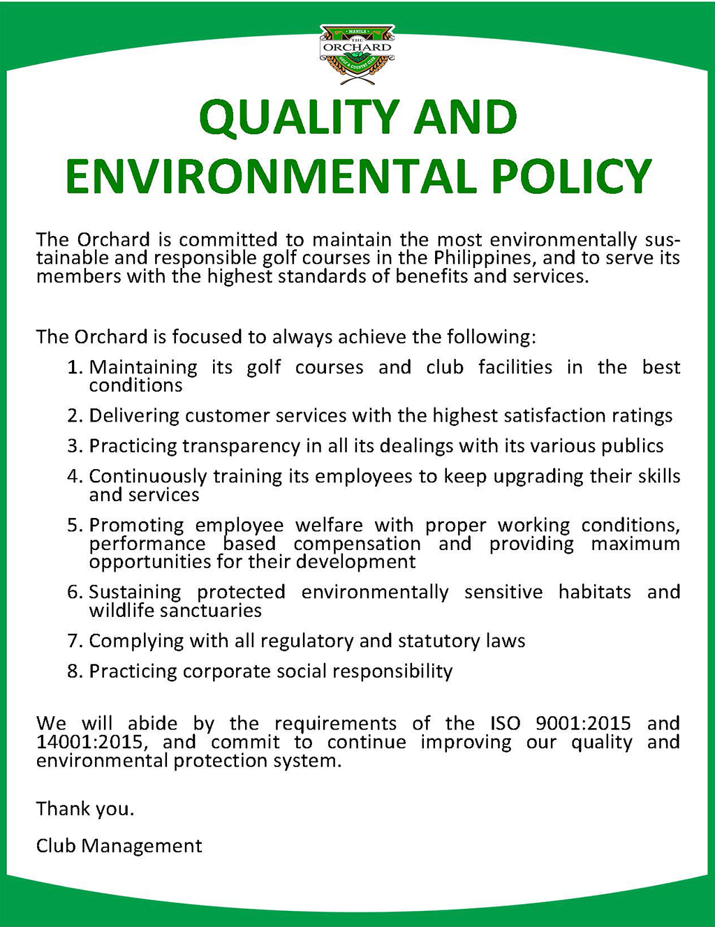 Quality And Environmental Management The Orchard Golf