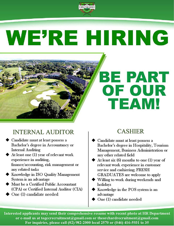 Vacancies – The Orchard Golf & Country Club